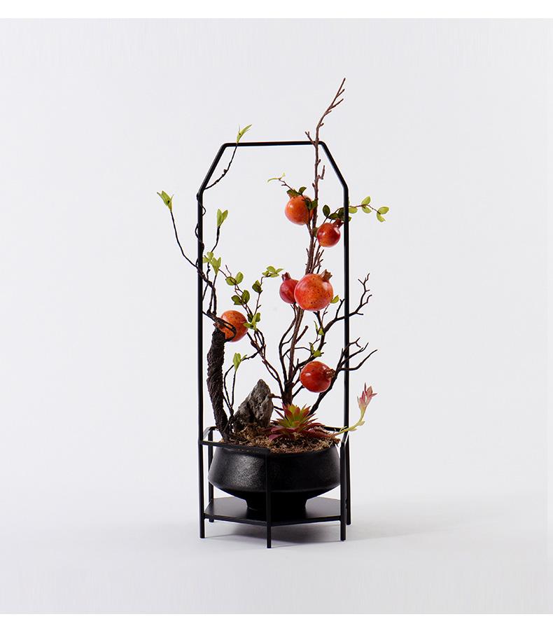 新中式假花仿真花藝樣板房客廳玄關擺件博古架展廳柜酒店軟裝飾品-單品-美間(軟裝設計采購助手)