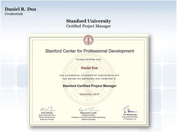 Stanford University Certified Project Manager on Behance