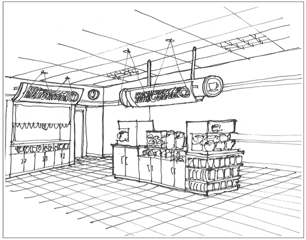 Convenience Store Design Layout Sketch Coloring Page