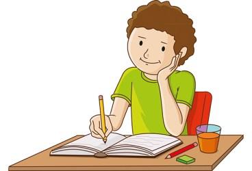 homework cartoon clipart student happy children writing google working kid yuksel mustafa illustration
