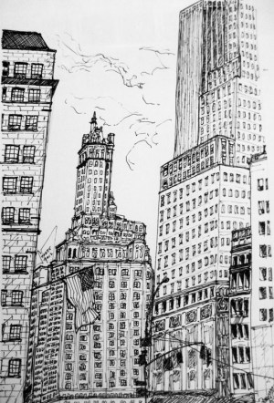 drawings ink york manhattan drawing pen building nyc draw state street sketches behance empire pencil micron downtown village couple pens