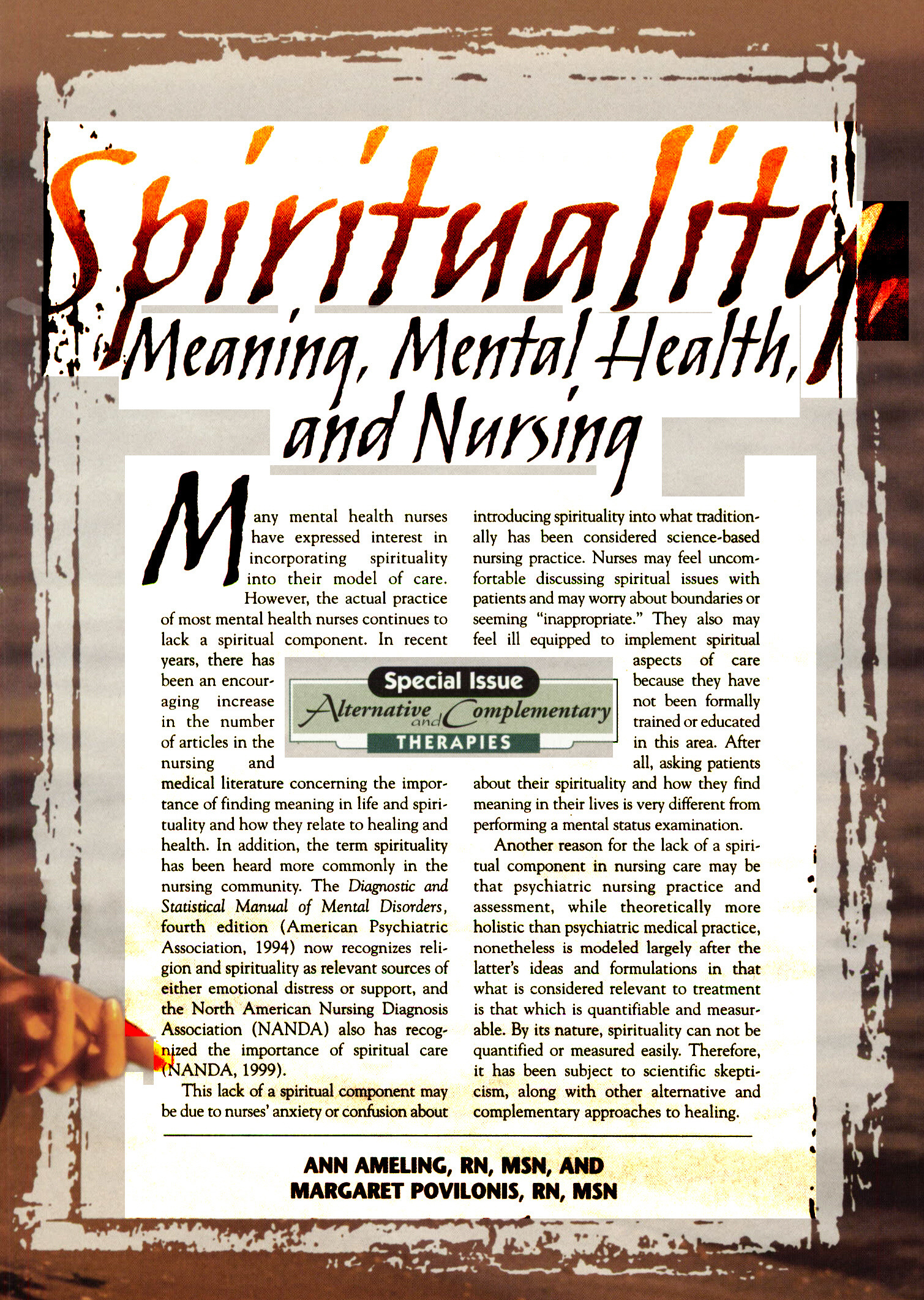 Spirituality Meaning Mental Health And Nursing