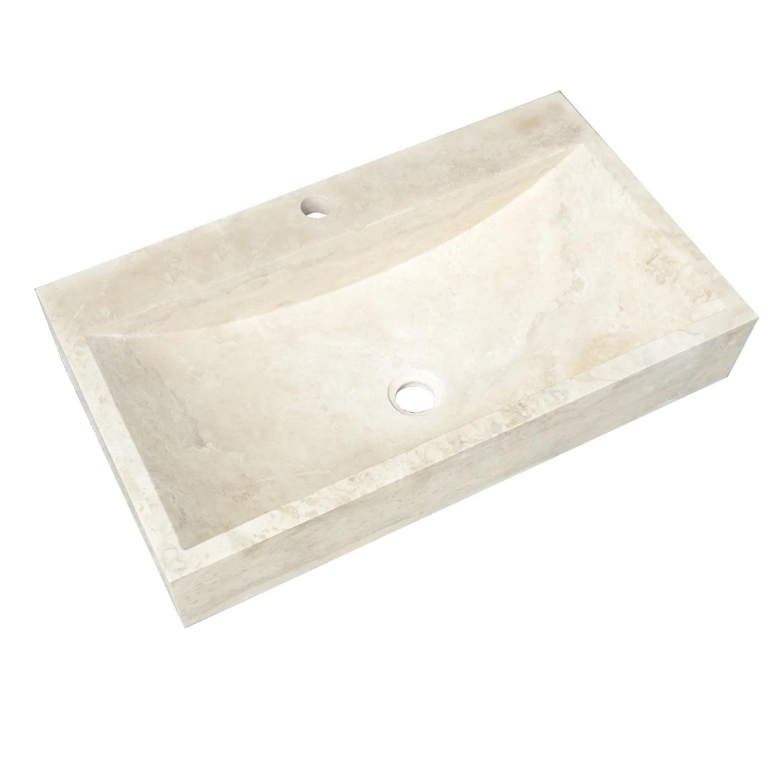 vasque a poser travertin l 70 x p 40 cm beige naturel edith