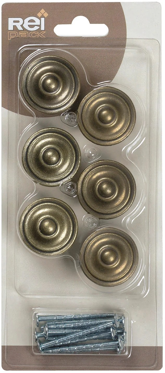 lot de 6 boutons de meuble zamak metal