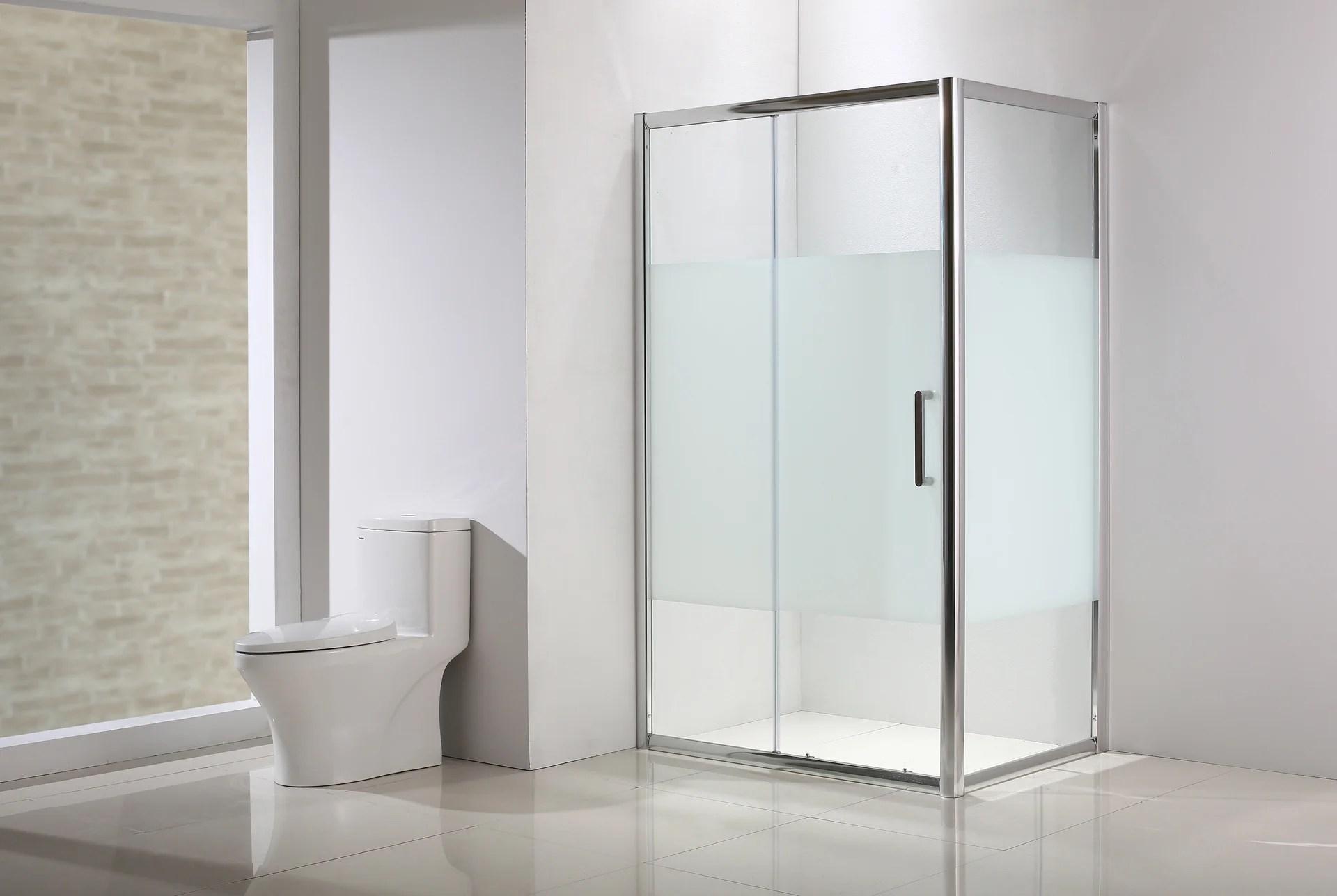 porte de douche fixe serigraphie chrome 80 cm quad