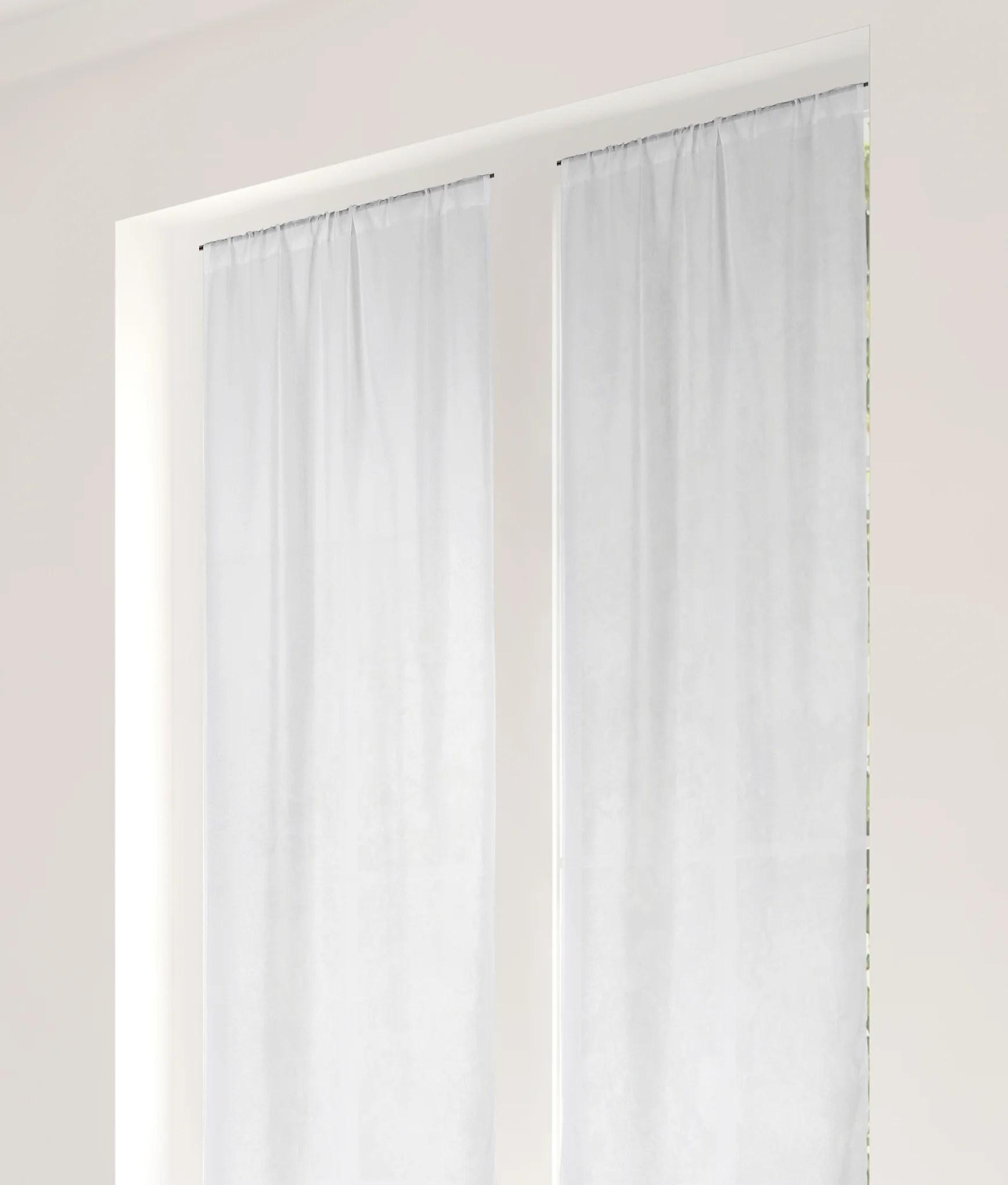paire de vitrages tamisant linette aspect lin blanc l 90 x h 220 cm