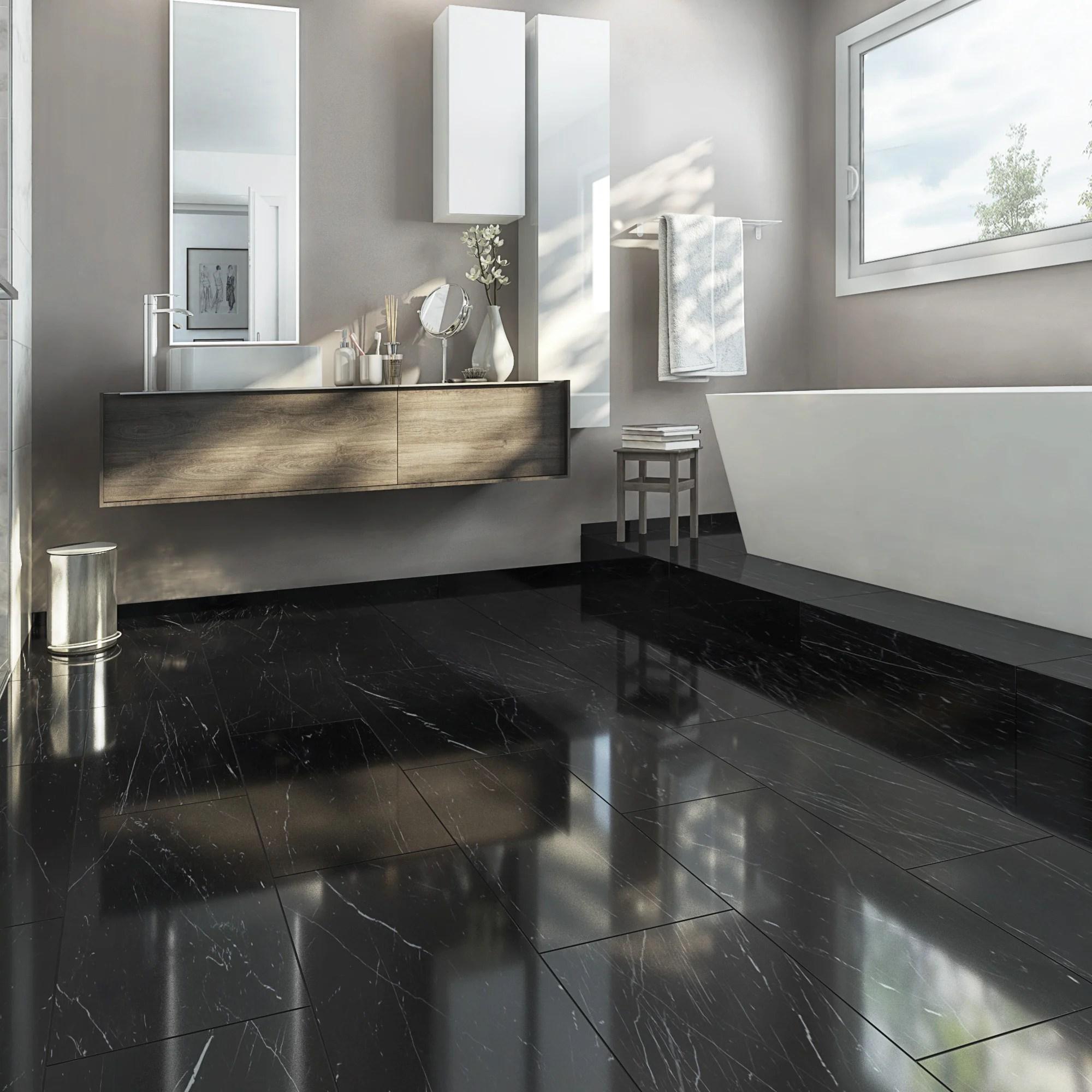 carrelage sol et mur intenso effet marbre noir rimini l 30 x l 60 cm