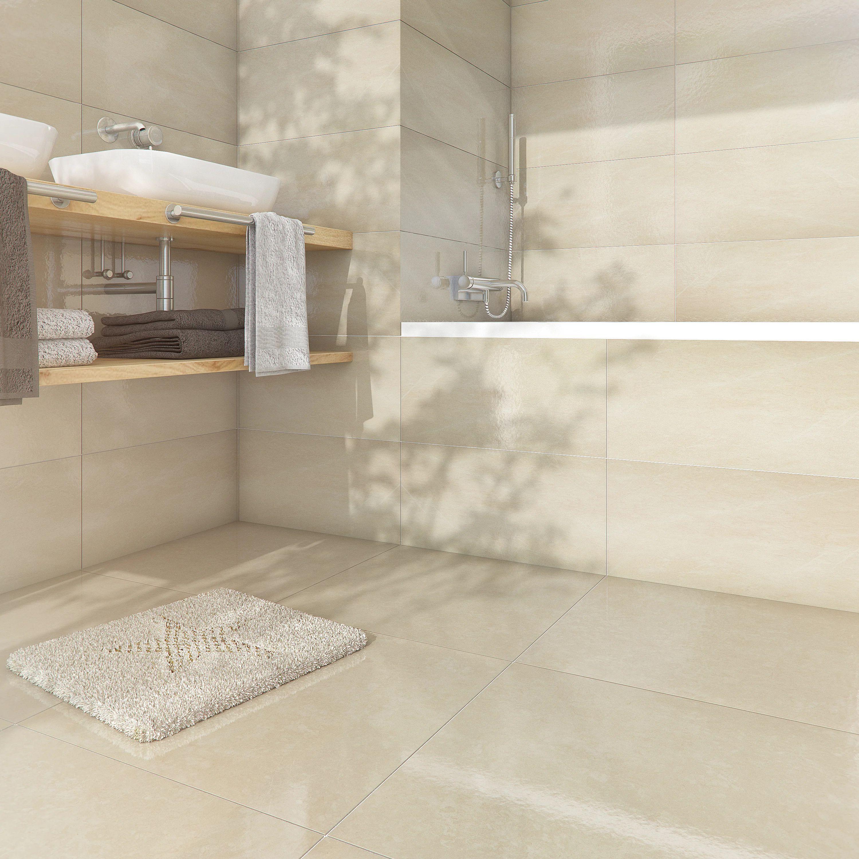 carrelage sol et mur forte effet marbre beige santorini l 30 x l 60 cm artens