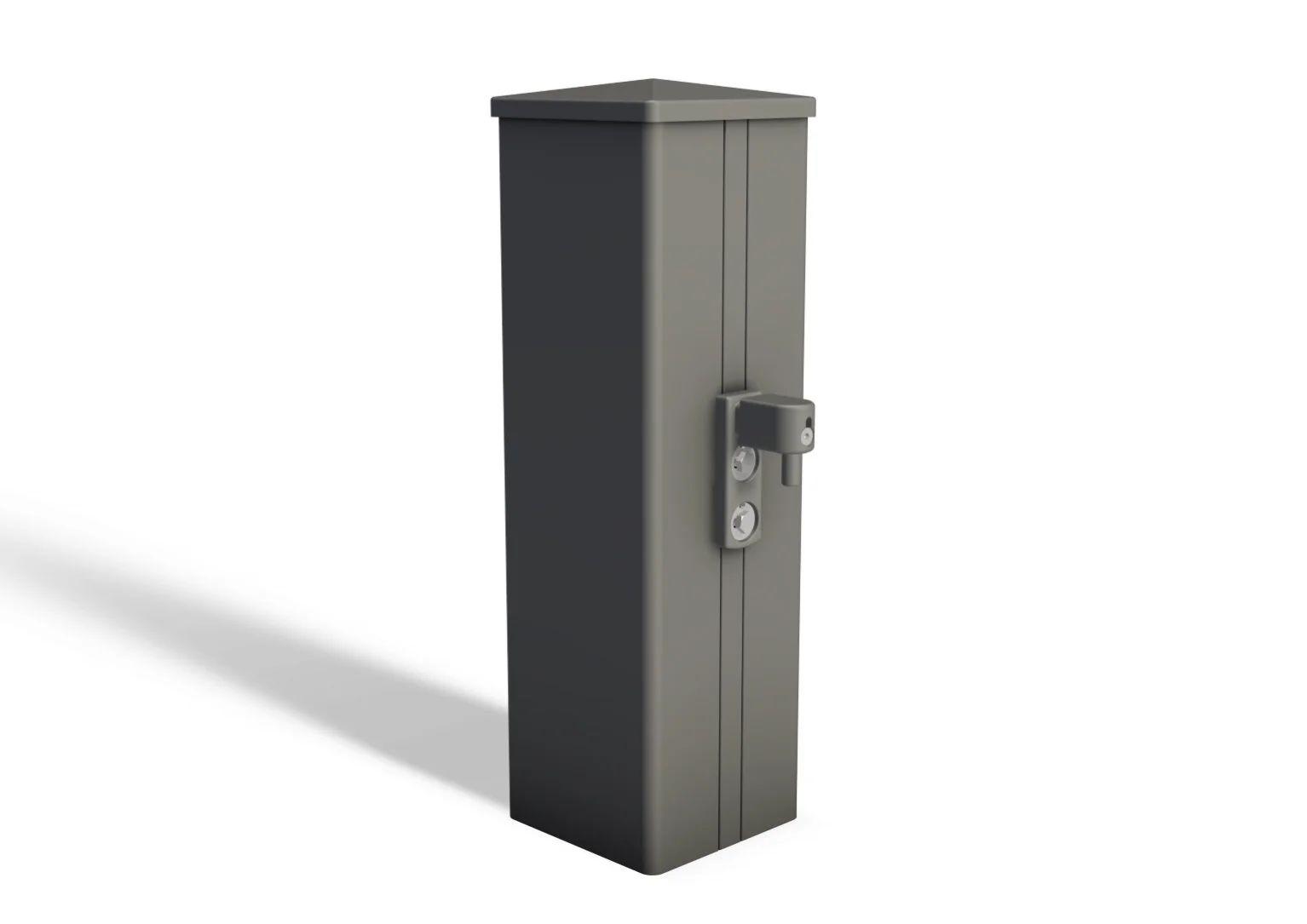 poteau aluminium a sceller easy gris l 150 x p 15 x h 217 cm