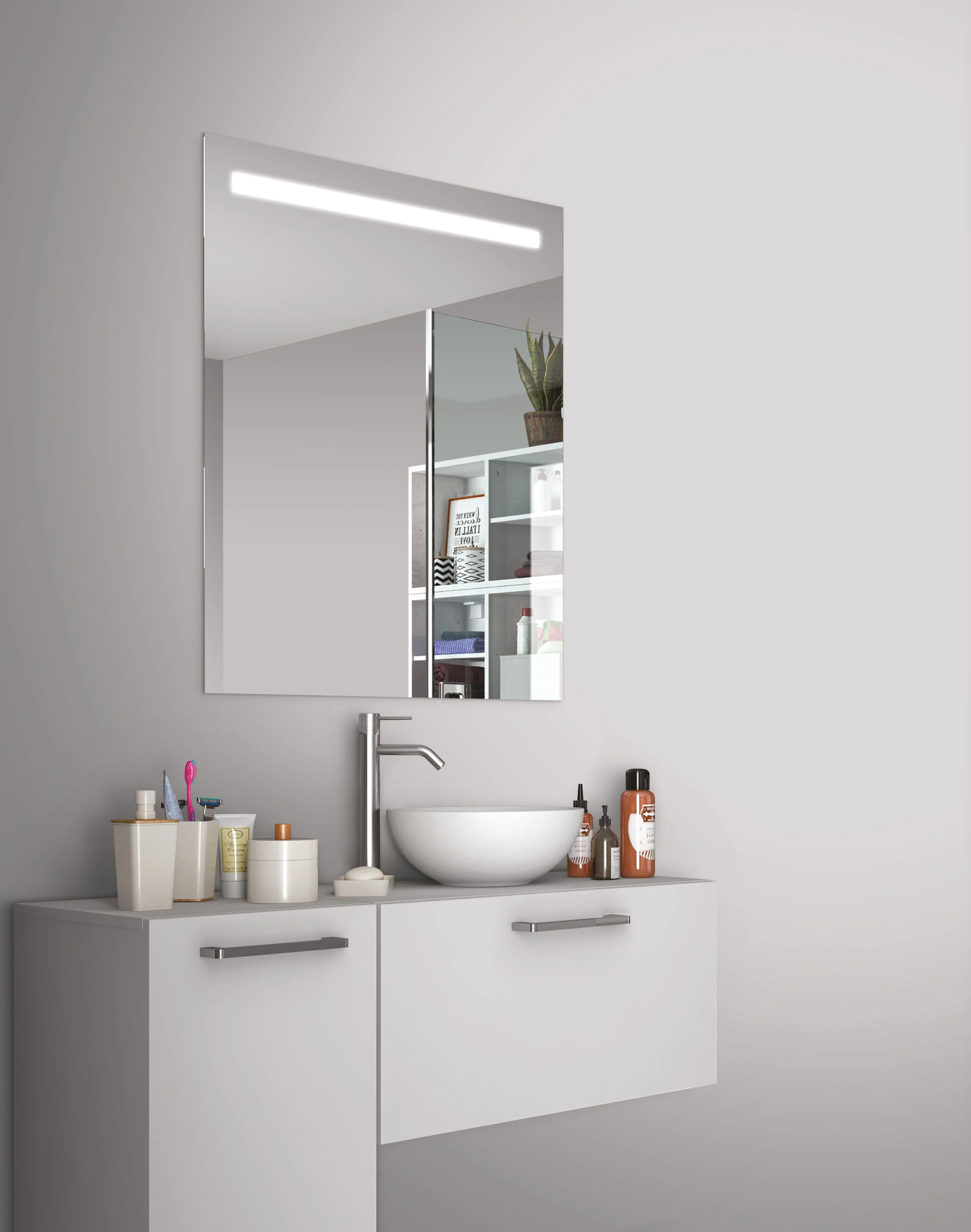Miroir Lumineux Avec Eclairage Integre L 80 X H 70 Cm Essential Leroy Merlin
