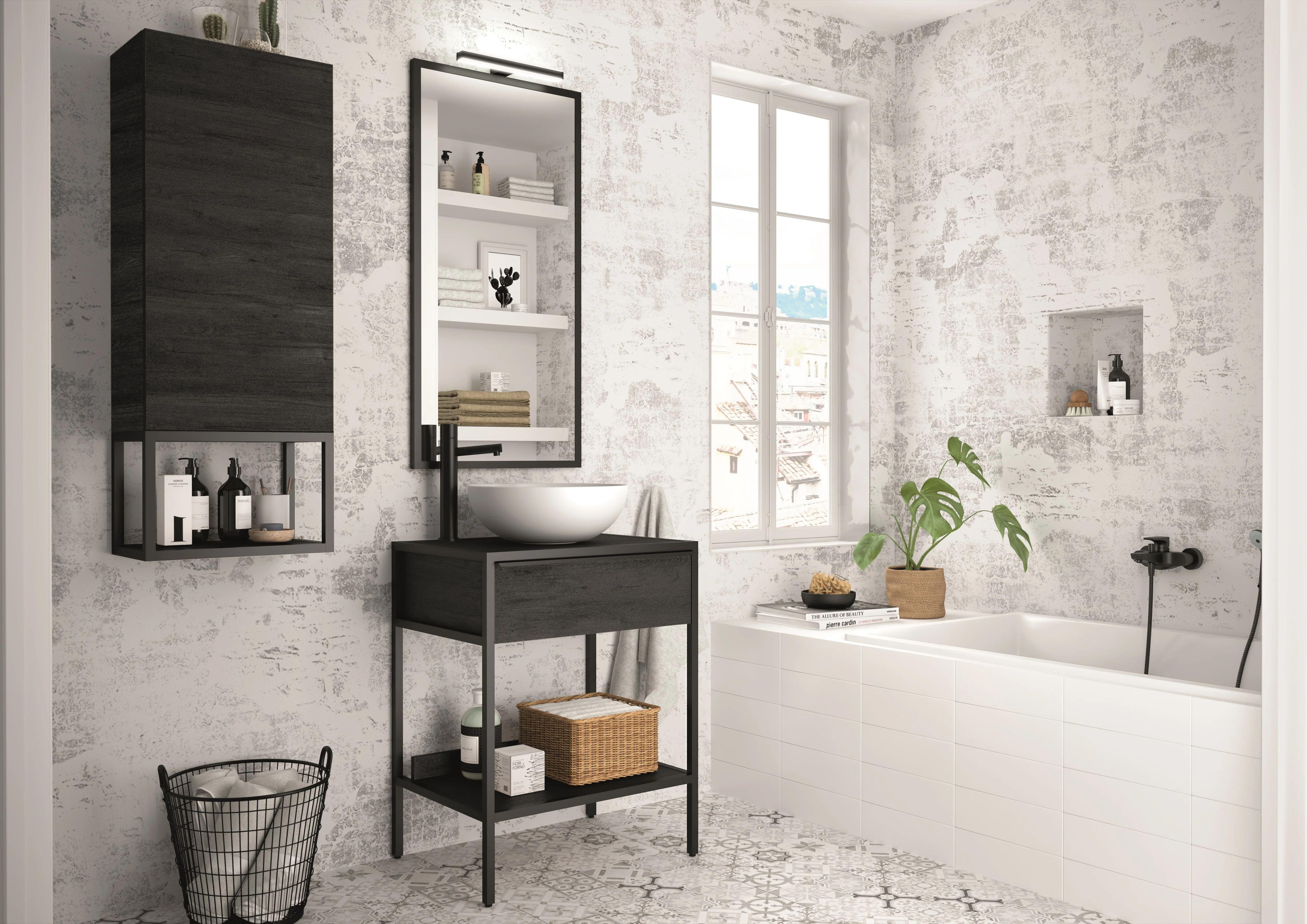 Meuble De Salle De Bains Simple Vasque L 60 X H 77 2 X P 45 Cm Effet Chene Noir Leroy Merlin
