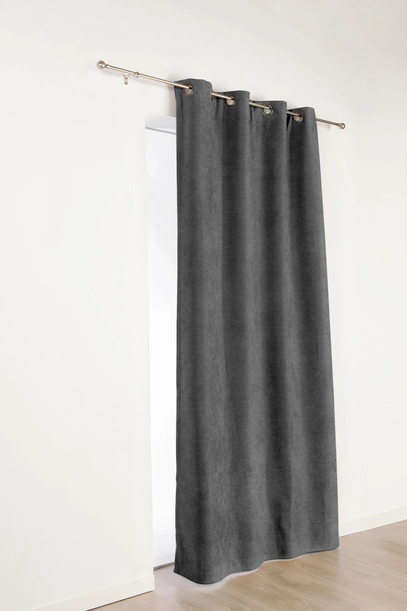 rideau occultant thermique alaska gris anthracite l 140 x h 350 cm
