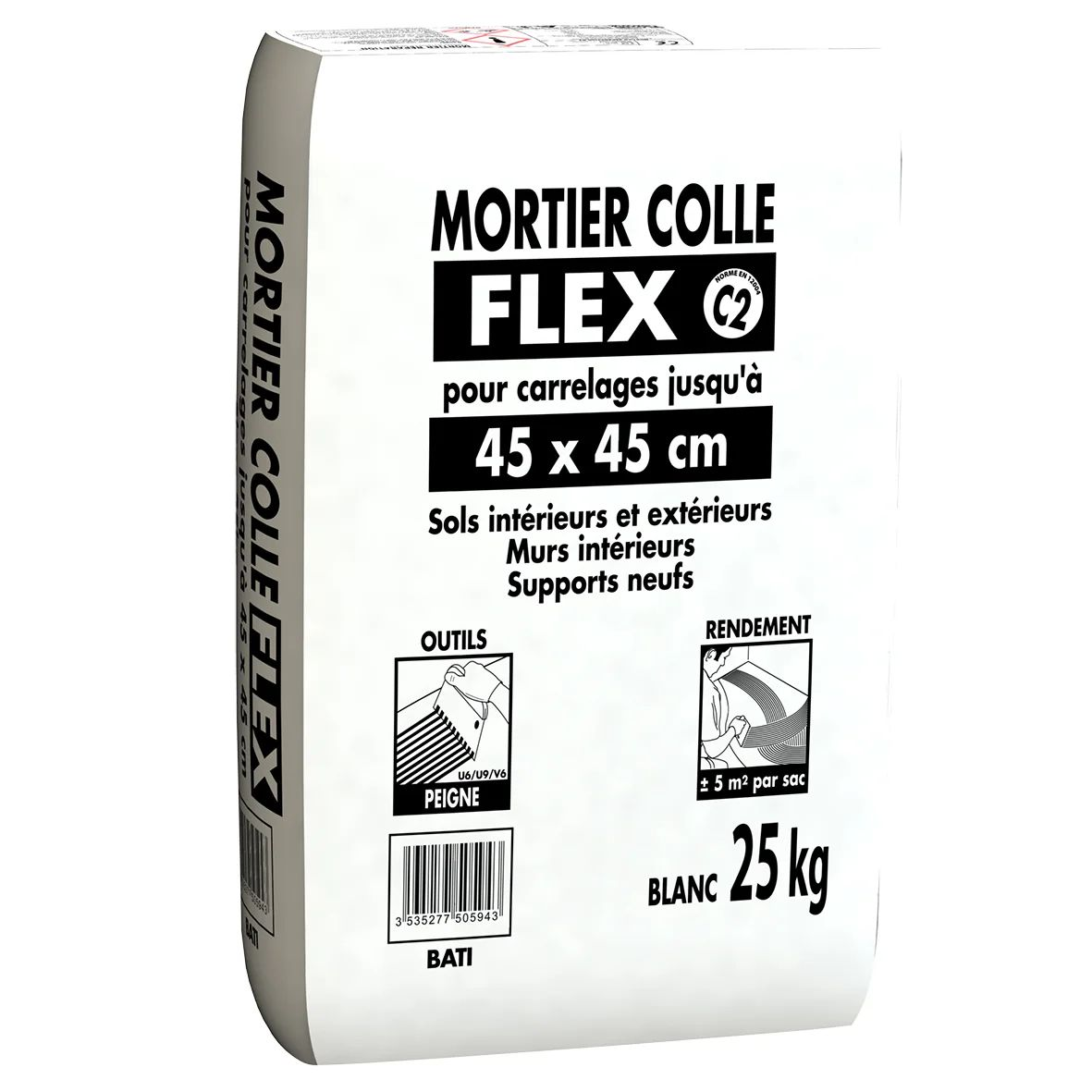 Mortier Colle Interieurs Et Exterieurs Pour Flex Blanc Carreau 45 45cm 25kg Leroy Merlin