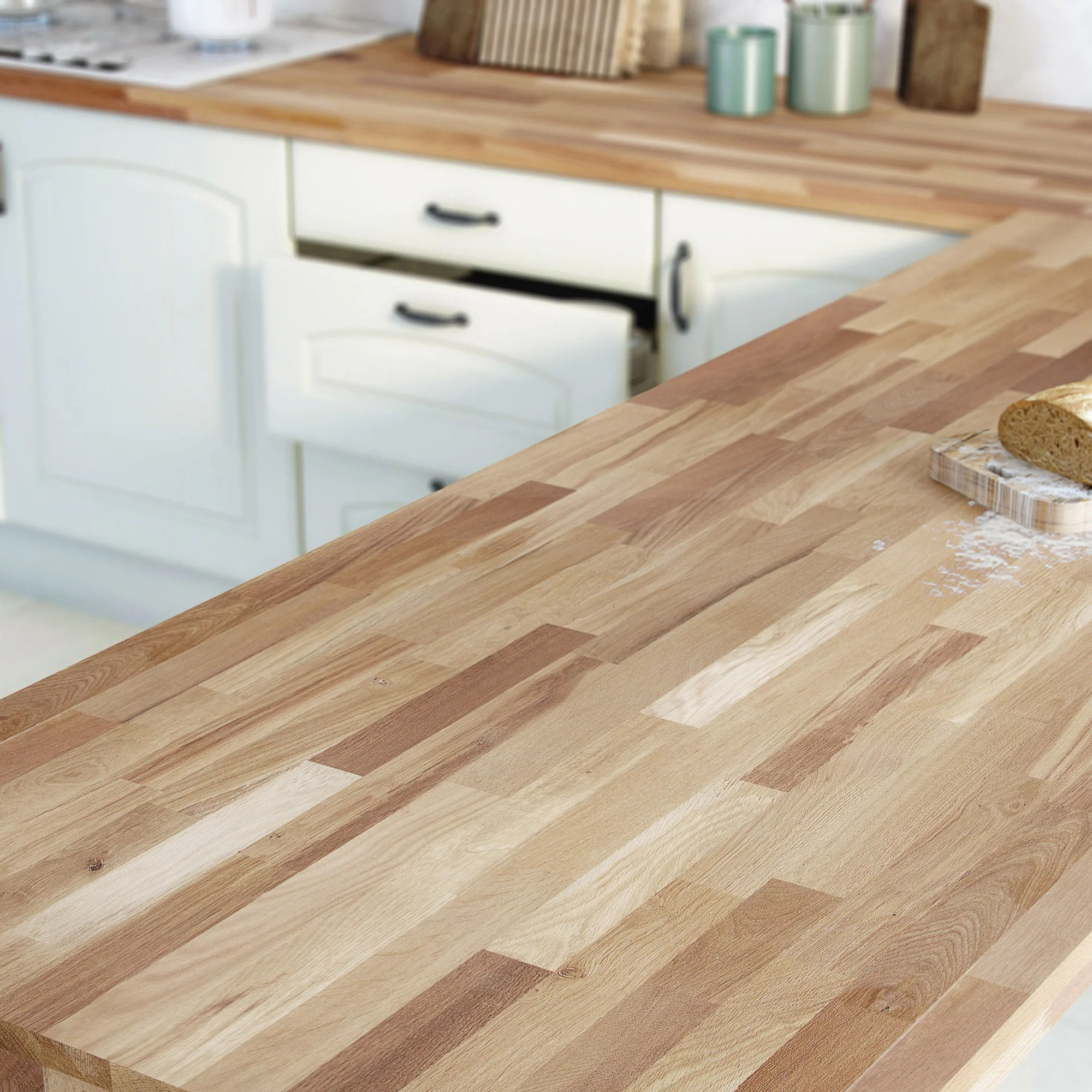 plan de travail bois chene lamelle pre huile l 300 x p 65 cm ep 36 mm