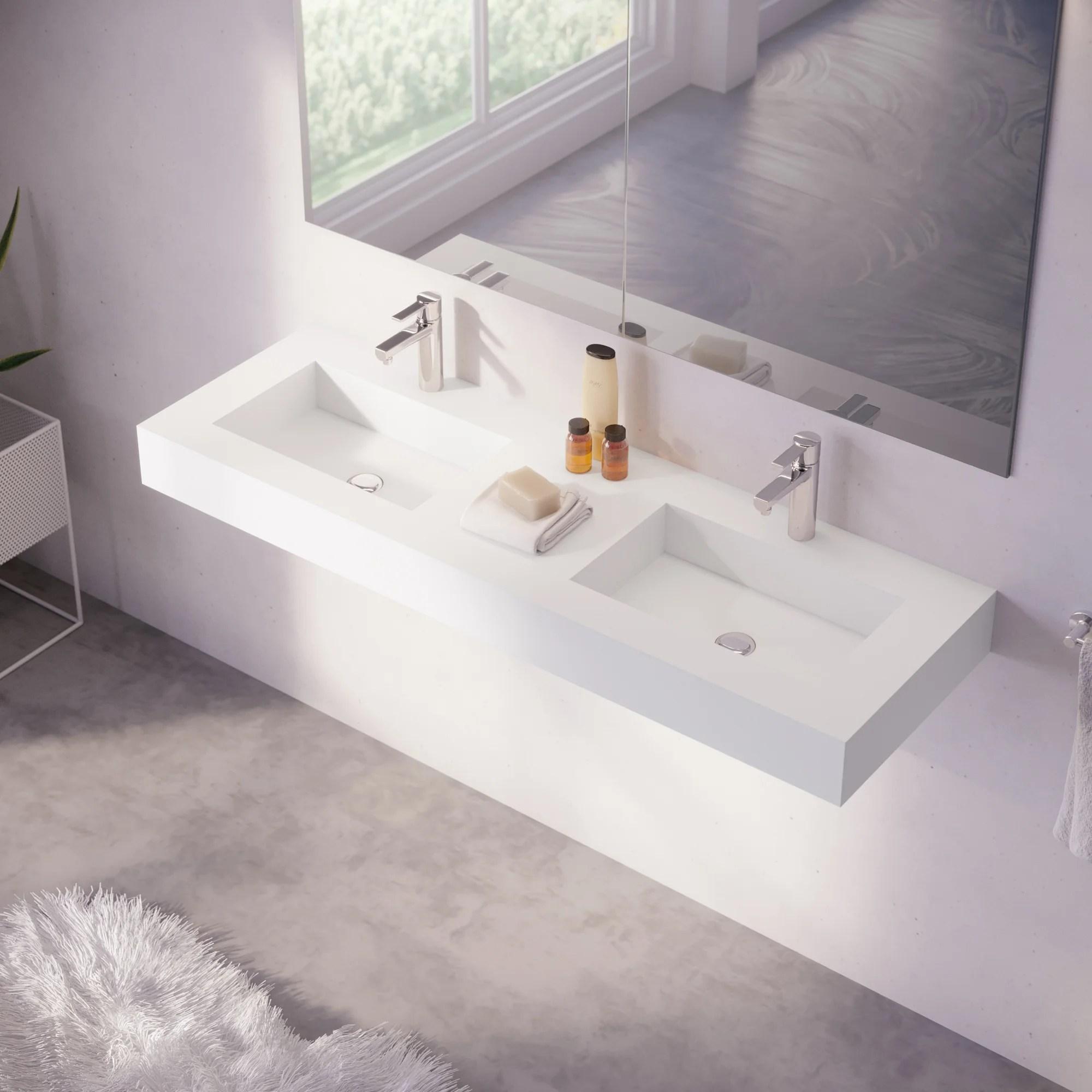 plan vasque double microplus pierre blanc l 141