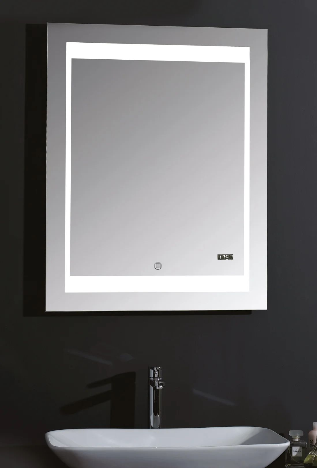 Miroir Lumineux Avec Eclairage Integre L 70 X H 90 Cm Silver Futura Leroy Merlin