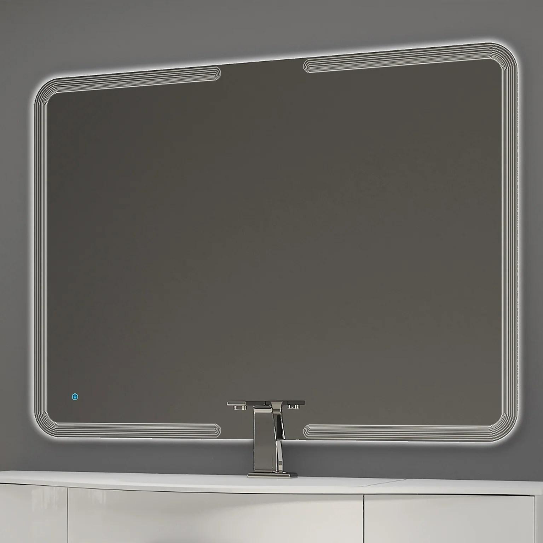 miroir lumineux avec eclairage integre l 120 x h 90 cm led