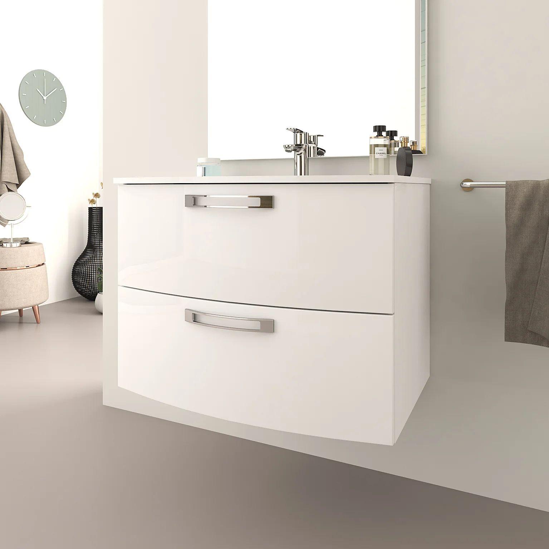Meuble Simple Vasque L 74 X H 55 Blanc Brillant Comfort Leroy Merlin
