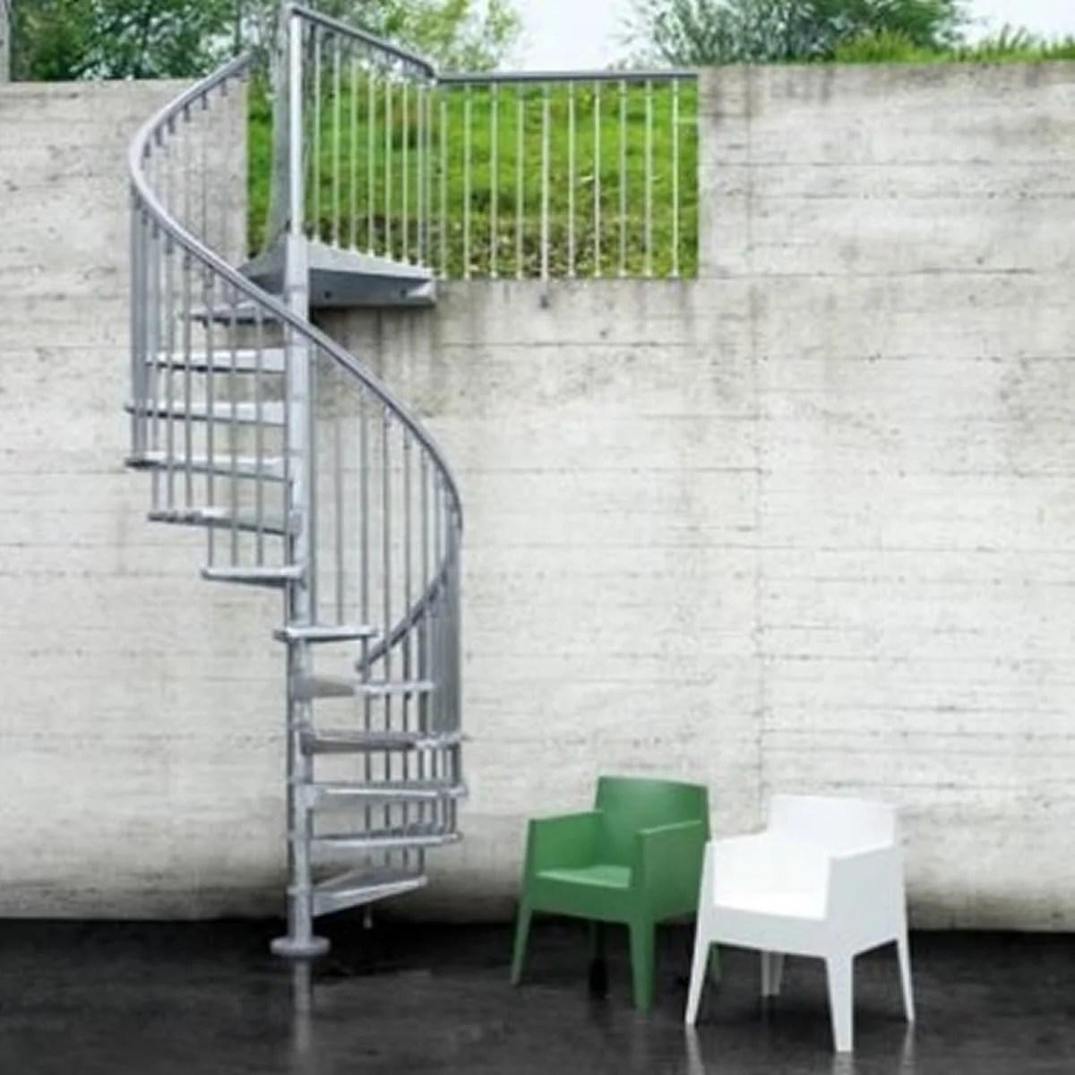 escalier colimacon rond revers acier gris steel zink 12 marches acier 120 cm