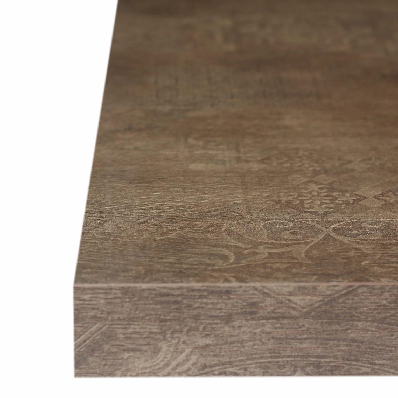 plan snack stratifie effet chene fonce imperial mat l 200 x p 40 cm ep 38 mm