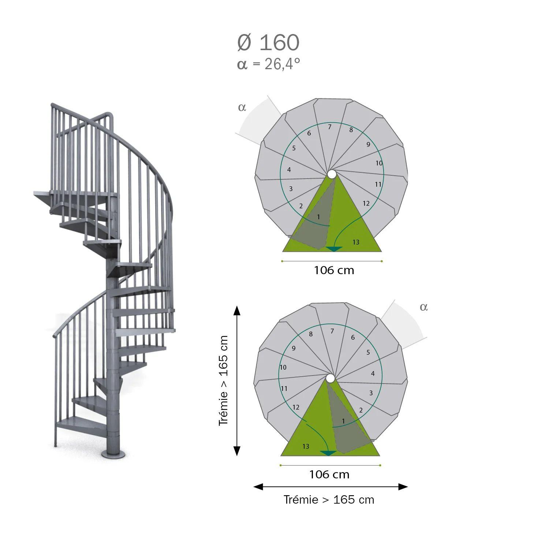 Escalier Colimacon Rond Revers Acier Gris Steel Zink 12 Marches Acier 160 Cm Leroy Merlin