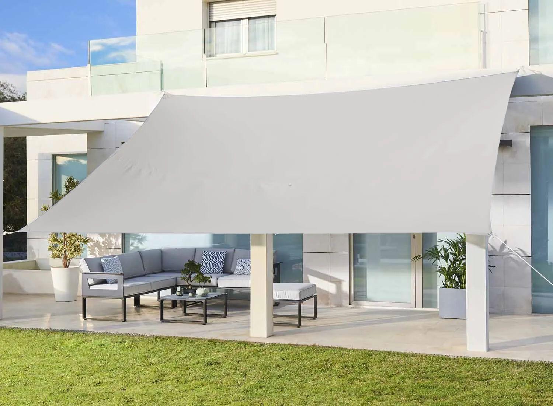 voile d ombrage rectangulaire blanc l 400 x l 300 cm