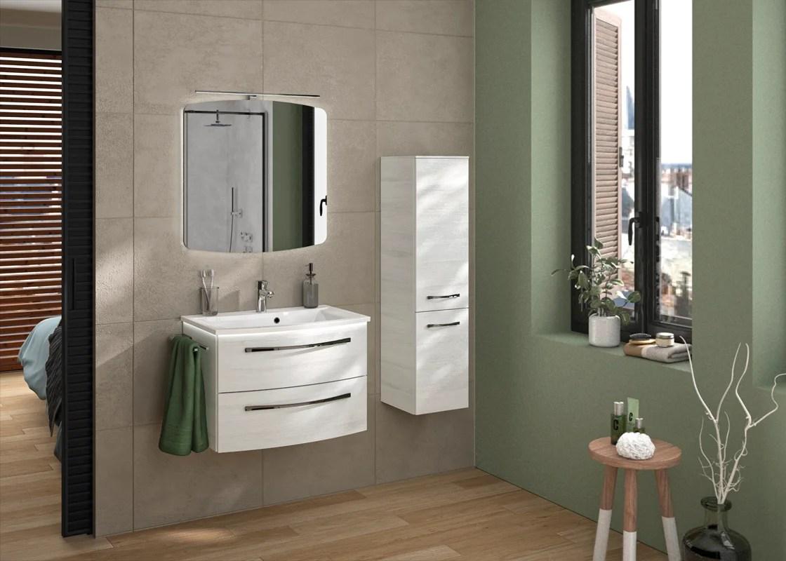 meuble de salle de bains simple vasque l 69 5 x h 48 2 x p 48 2 cm effet chene