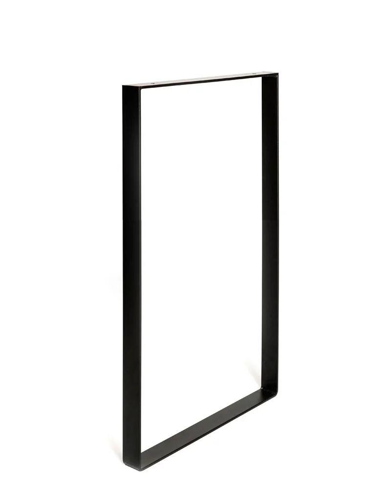 pied pour meubles tables et bars rectangle rei a visser acier mat noir