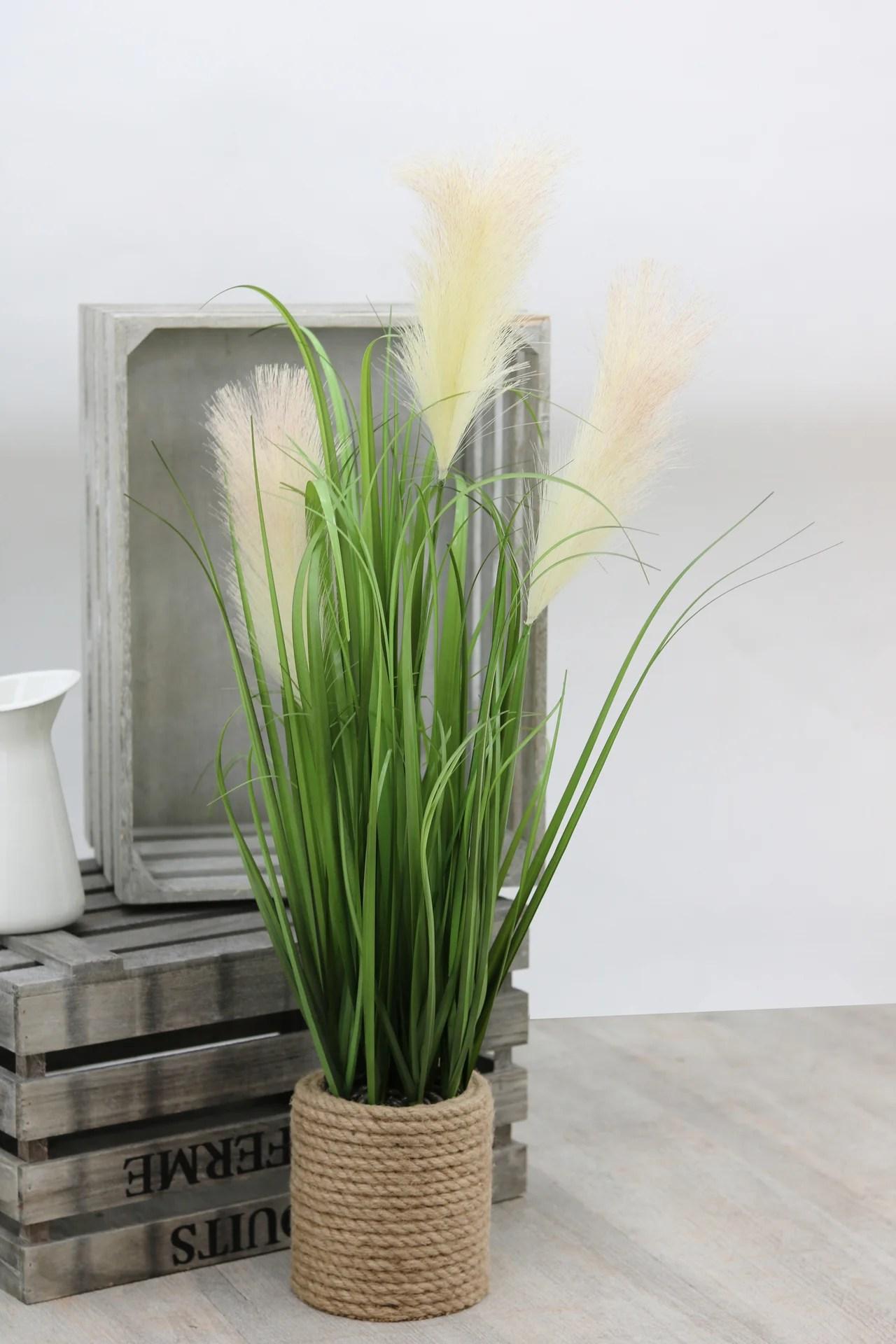 Herbe Pampa Graminees Artificielles Plumeaux Blancs Pot Cordage 80cm Ligne Deco Leroy Merlin