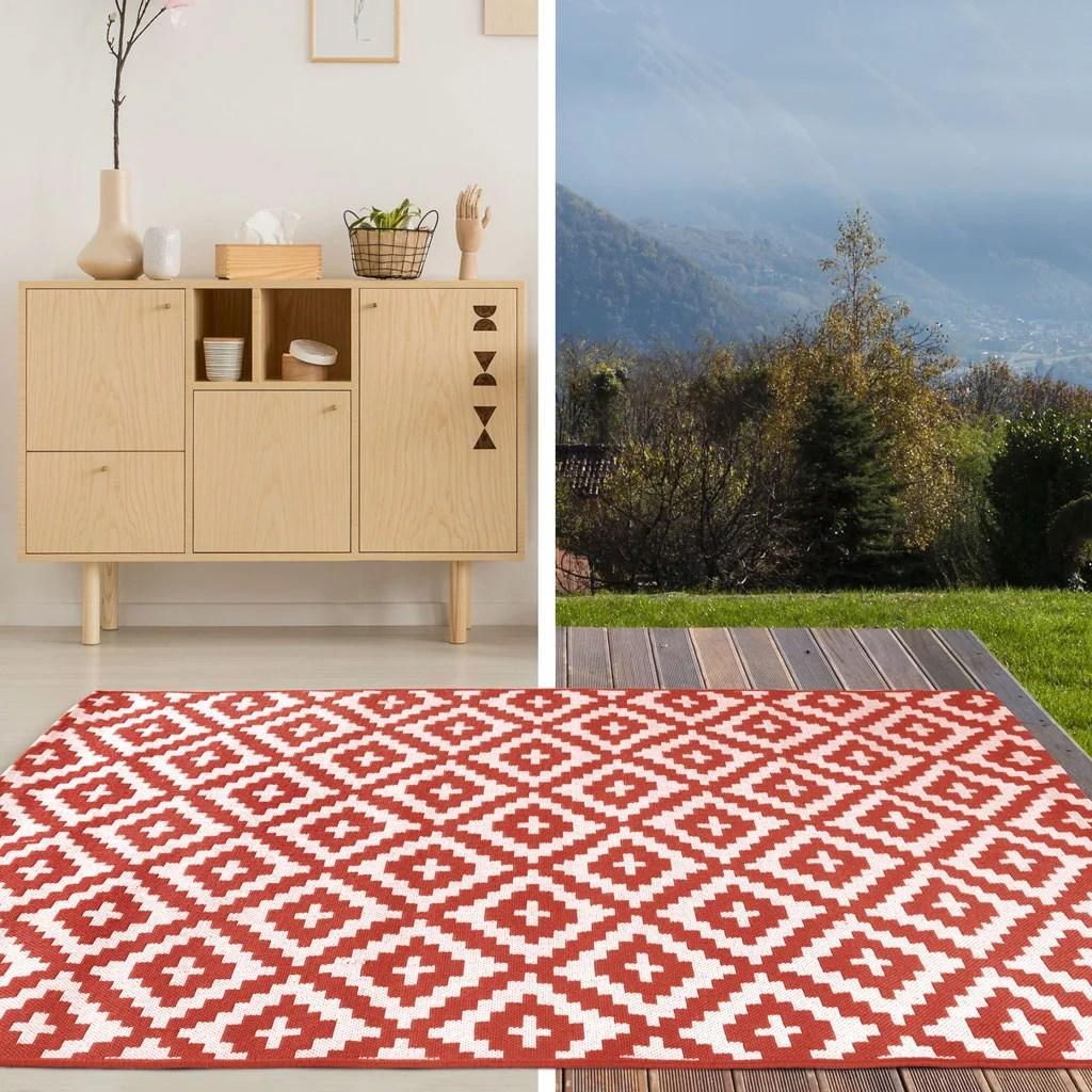 tapis exterieur exterieur rouge rectangulaire l 150 x l 200 cm fara