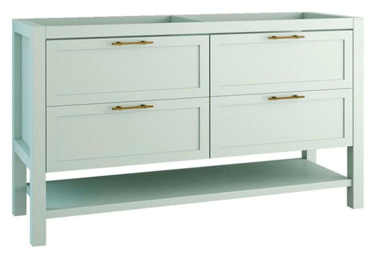 meuble de salle de bains double vasque l 140 x h 85 x p 45 cm vert mat poignee