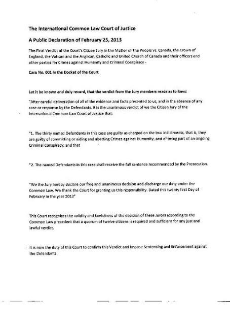 25 años de cárcel para Benedicto XVI, Reina Isabel, y Stephen Harper, por su participación en crímenes contra la humanidad