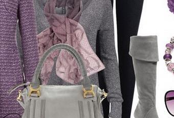 Outfit de otoo de color morado con botas de color gris