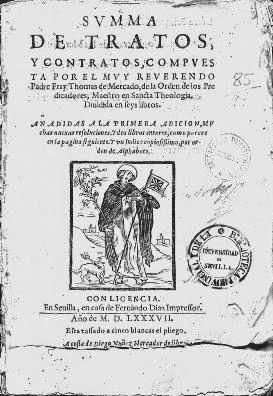 Portada de la Summa de tratos y contratos de Fray Tomás de Mercado (1587)