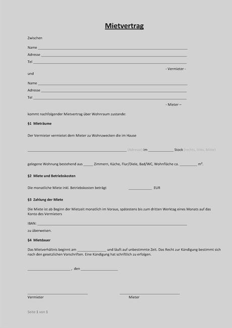 Mietvertrag Vorlage kostenlos als PDF zum Download | Formblitz