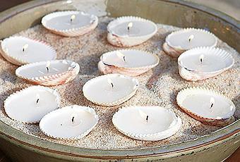 Centro de mesa hecho con conchas y arena  Paperblog