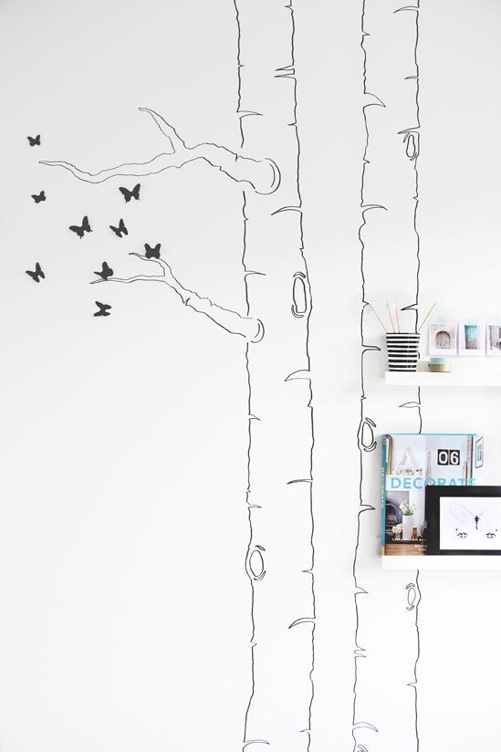 DIY Dibujar la silueta de un rbol en la pared y aadirle mariposas 3D  Paperblog