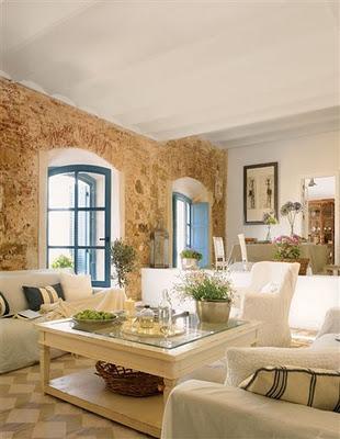 Casa rustica en blanco y piedra  Paperblog