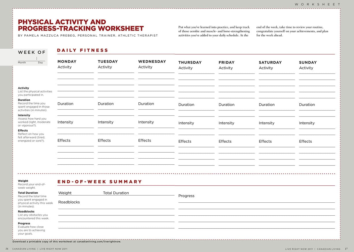 Physical Activity Progress Tracking Worksheet A Free