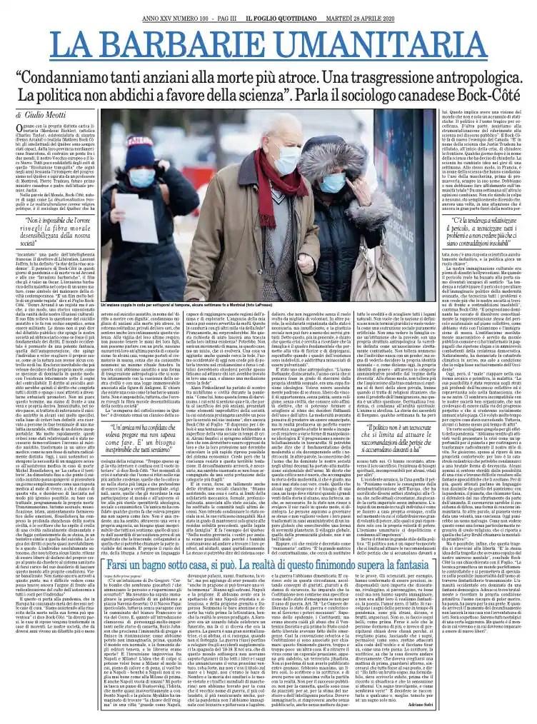 Texte original de l'entretien paru dans le quotidien italien Il Foglio le 28 avril 2020