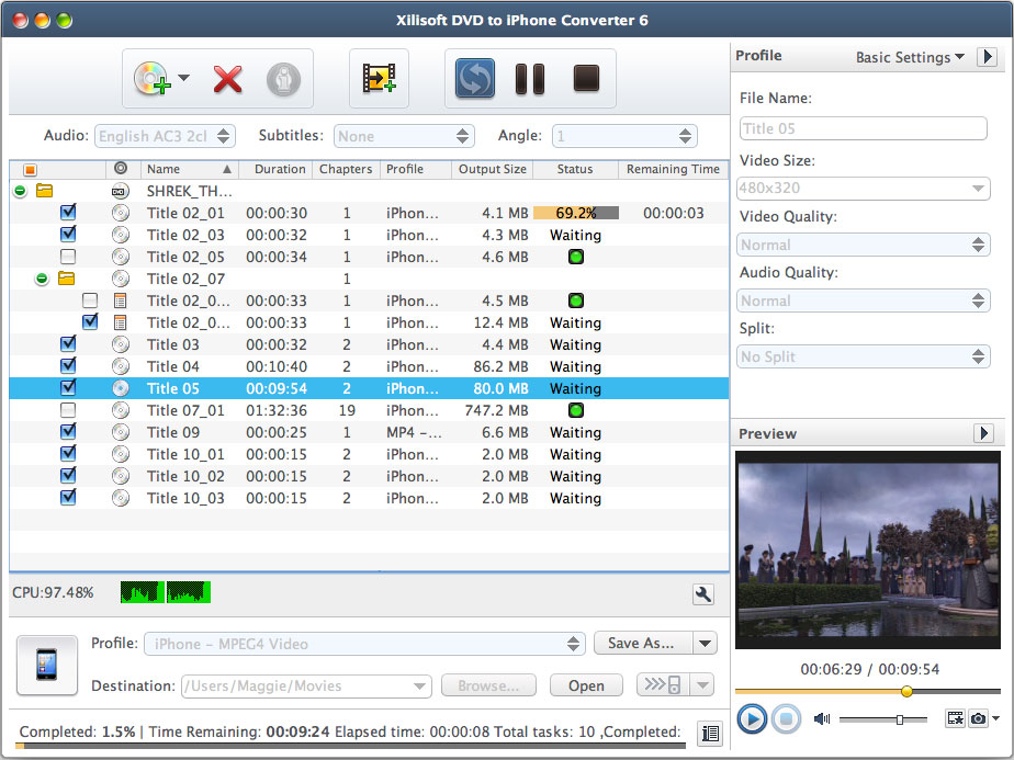 曦力 Xilisoft DVD to iPhone Converter for Mac 7.0.1.1221 : 軟體王 2020 - 軟體資訊