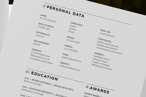 Minimal Resume / CV / Curriculum Vitae on Behance