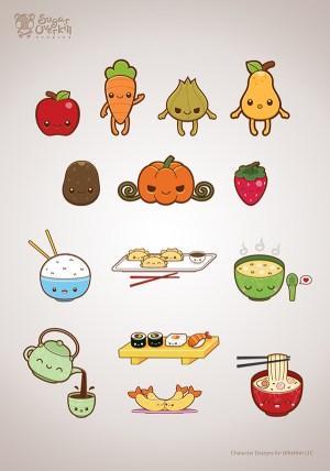 kawaii illustration behance drawing drawings michele liza character cartoon via japanese illustrations vegetables fruits faces foods easy doodle adorable kaiser