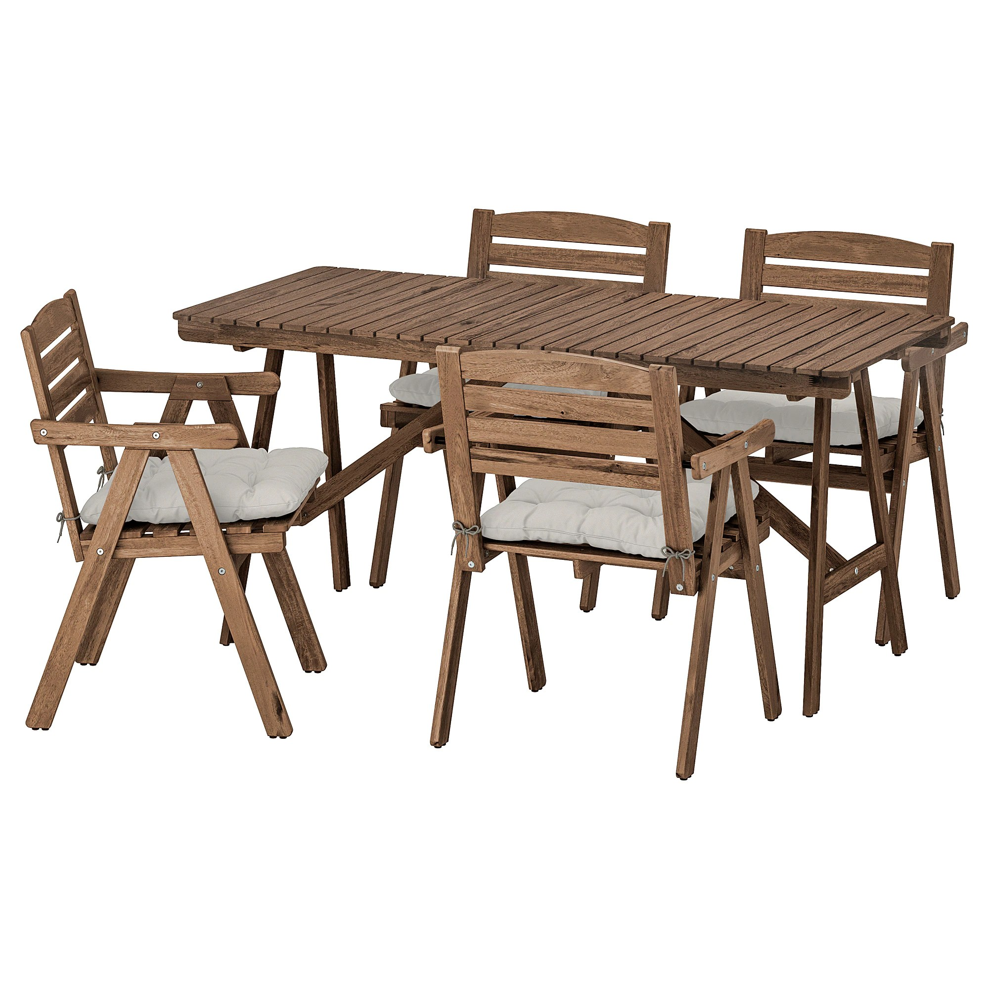 Falholmen Table4 Chairs W Armrests Outdoor Grey Brown