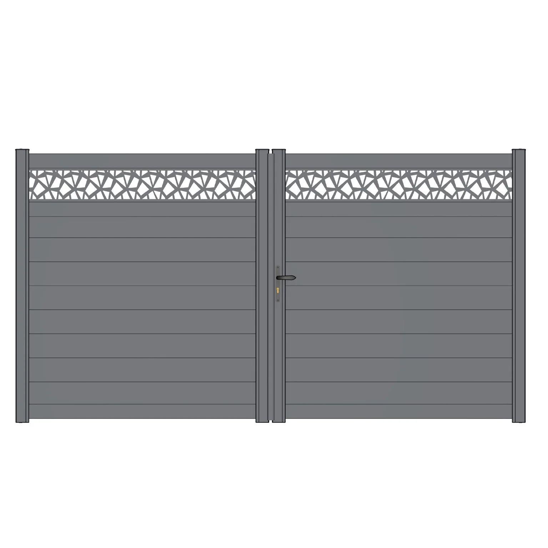 portail battant alu horizo polygo mix it gris zinc naterial l 349 x h 170 5 cm