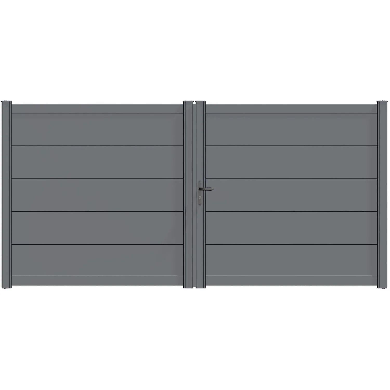 portail battant aluminium hezo gris zinc naterial l 349 x h 170 5 cm