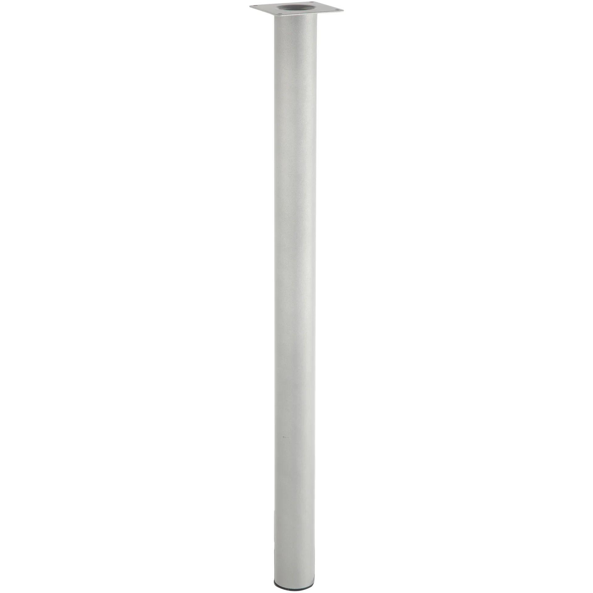 lot de 4 pieds de table cylindrique fixes metal epoxy gris 71 cm