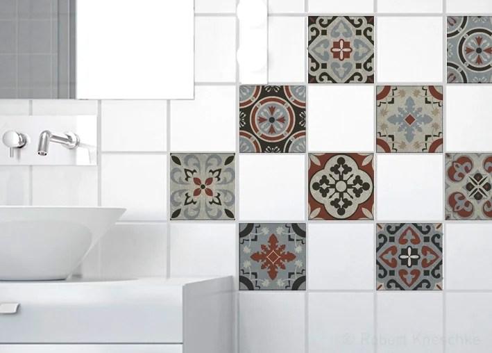 lot de 9 stickers adhesifs carrelage mural carreaux de ciment gris 10 cm x 10 cm