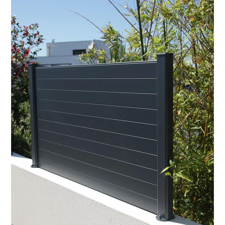 lame de cloture aluminium pleine klos up gris zinc h 9 x l 145 cm