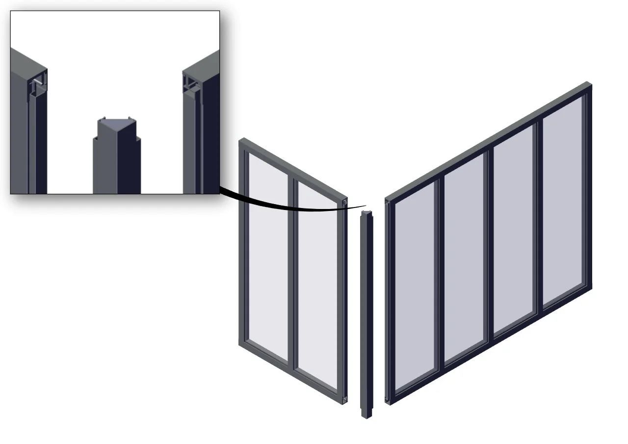 Poteau D Angle Pour Verriere Atelier Fixe Noir Mat En Aluminium H 130 X L 3 6 C Leroy Merlin